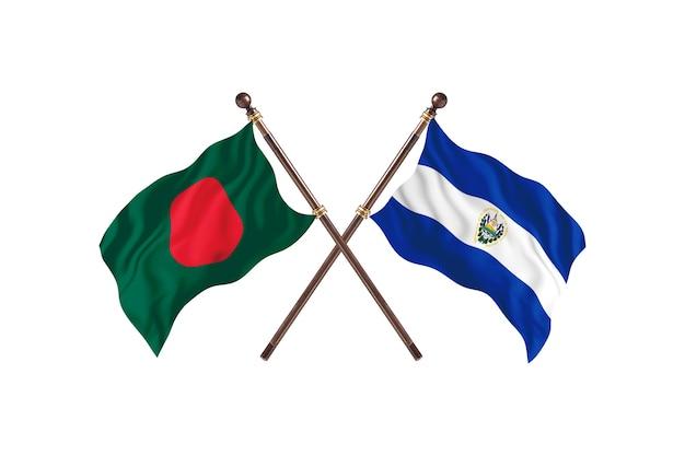 Bangladesh versus el salvador flags background