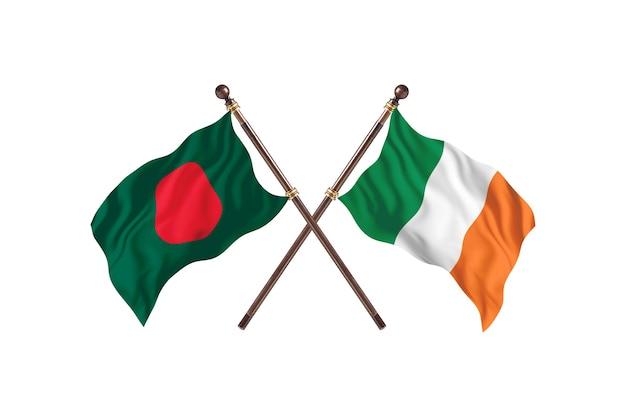 Bangladesh versus ireland flags background