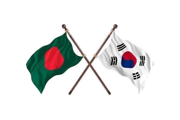 Bangladesh versus south korea flags background