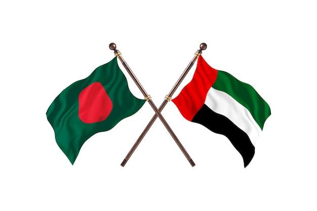 Bangladesh versus united arab emirates flags background