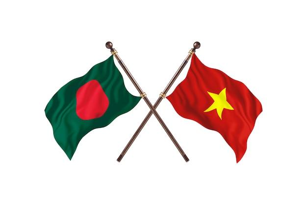 Bangladesh versus vietnam flags background