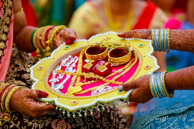 Bangles and golden necklace set for newly bride
