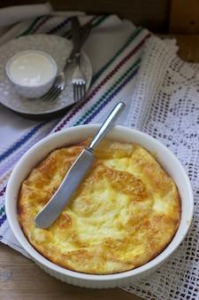Banitsa, a traditional bulgarian or balkan filo pastry pie stuffed with feta cheese