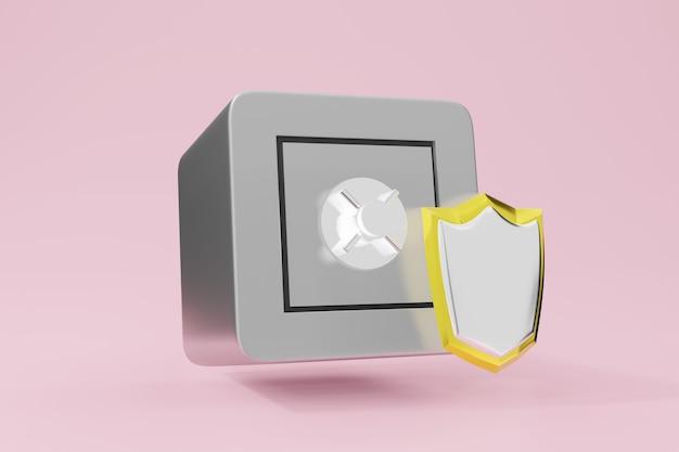 Защита банковского ящика для денег 3d иллюстрации. безопасная и надежная финансовая концепция.