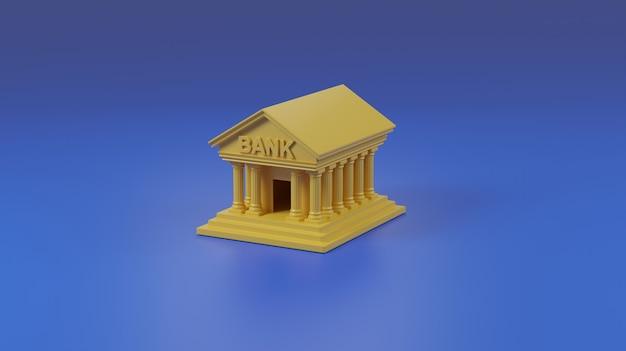 Bank building on blue background.