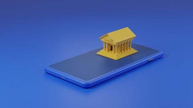 Bank building on mobile phone.