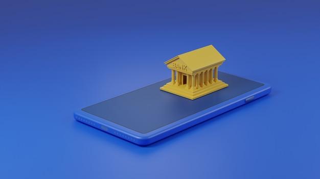 은행 휴대 전화에 건물.