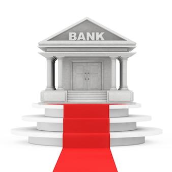 白い背景にレッドカーペットで勝者の表彰台の上に銀行の建物。 3dレンダリング
