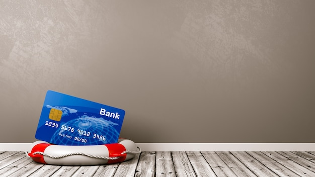 Bank card on a lifebuoy in the room