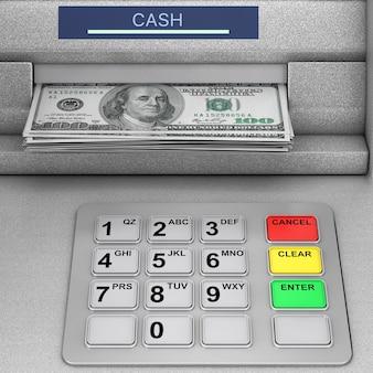 은행 현금 atm 기계 극단적인 근접 촬영입니다. 3d 렌더링