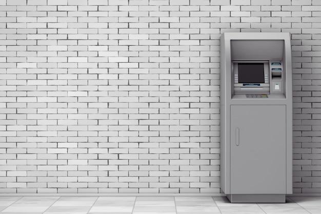 벽돌 벽 앞에 은행 현금 atm 기계. 3d 렌더링