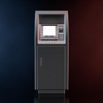 검정색 배경에 색 체적 빛의 은행 현금 atm 기계. 3d 렌더링