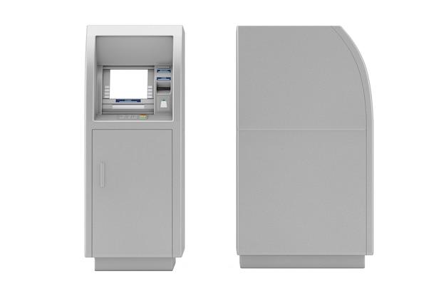 흰색 바탕에 은행 현금 atm 기계입니다. 3d 렌더링