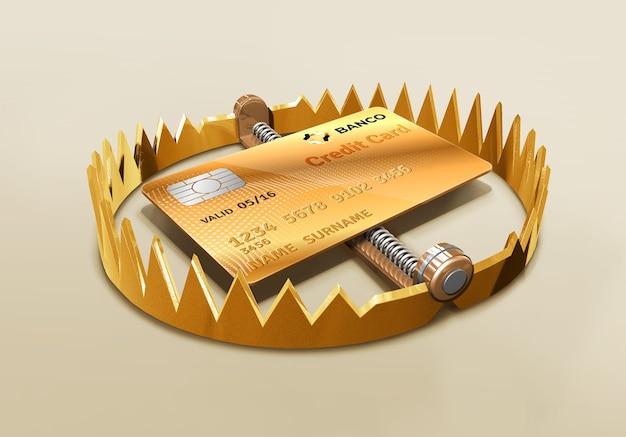 Банковская кредитная карта с медвежьей ловушкой золотая кредитная карта злоупотребление кредитной финансовой аферой возобновляемая карта