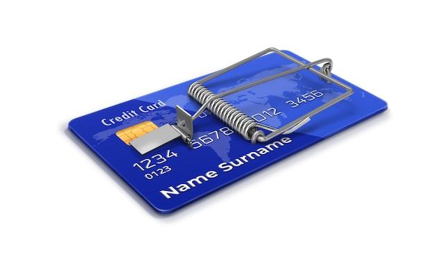 Банковская кредитная карта с мышеловкой синяя кредитная карта оскорбительная кредитная финансовая афера возобновляемая карта