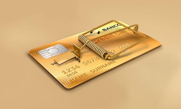 Банковская кредитная карта с мышеловкой золотая кредитная карта злоупотребление кредитной финансовой аферой возобновляемая карта