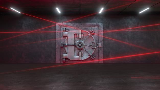 Дверь банка охраняется лазерной системой