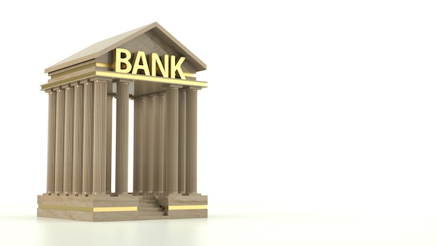Bank icon isolated on white background. 3d rendering