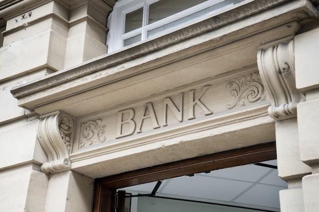 Bank sign logo, stone background