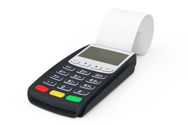 흰색 바탕에 빈 압연된 캐시 테이프로 지불을 위한 은행 터미널 금전 등록기 pos 기계. 3d 렌더링