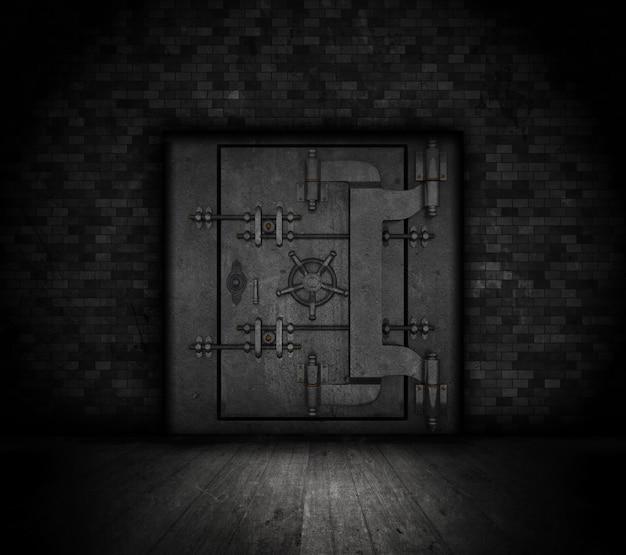 Дверь банковского хранилища в стиле гранж в темном интерьере