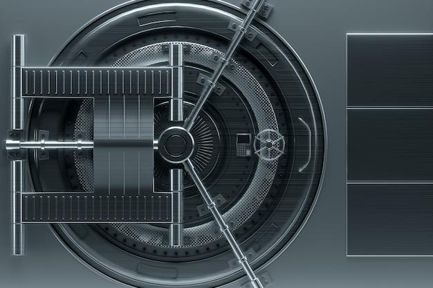 Дверь банковского хранилища, большой сейф, прочный металл. концепция банковских вкладов, депозитов, ячеек, хорошая защита сбережений. скопируйте космос, иллюстрация 3d, 3d представляет.
