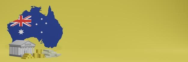 Банк с золотыми монетами в австралии для телевидения в социальных сетях и фоновых обложек веб-сайтов можно использовать для отображения данных или инфографики в 3d-рендеринге.