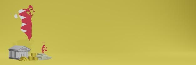 소셜 미디어 tv 및 웹 사이트 배경 표지를 위해 바레인에있는 금화가있는 은행은 3d 렌더링에서 데이터 또는 인포 그래픽을 표시하는 데 사용할 수 있습니다.