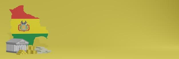 ボリビアのソーシャルメディアテレビやウェブサイトの背景カバーに金貨を持っている銀行を使用して、データやインフォグラフィックを3dレンダリングで表示できます。