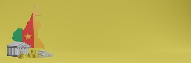 Банк с золотыми монетами в камеруне для телевидения в социальных сетях и фоновых обложек веб-сайтов можно использовать для отображения данных или инфографики в 3d-рендеринге.