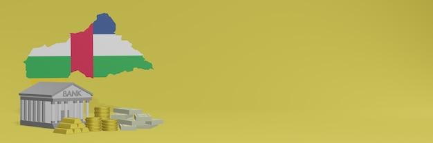 Банк с золотыми монетами в центральноафриканской республике для телевидения в социальных сетях и фоновых обложек веб-сайтов можно использовать для отображения данных или инфографики в 3d-рендеринге.