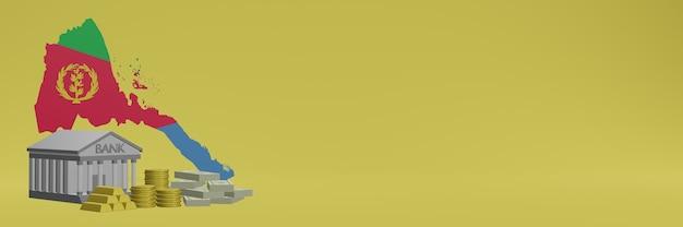 소셜 미디어 tv 및 웹 사이트 배경 표지를 위해 에리트레아에있는 금화가있는 은행은 3d 렌더링에서 데이터 또는 인포 그래픽을 표시하는 데 사용할 수 있습니다.