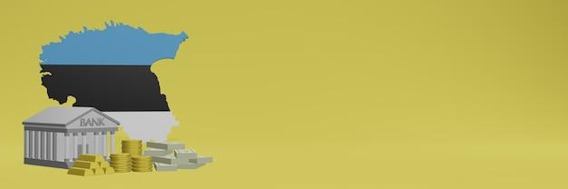 Банк с золотыми монетами в эстонии для телевидения в социальных сетях и фоновых обложек веб-сайтов можно использовать для отображения данных или инфографики в 3d-рендеринге.