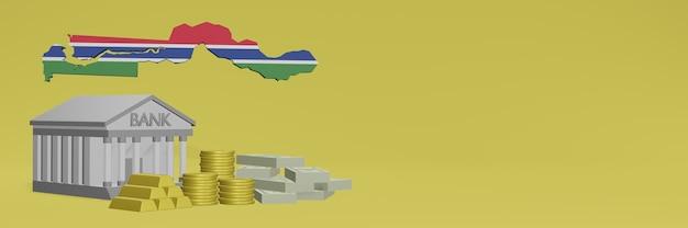 ガンビアのソーシャルメディアテレビやウェブサイトの背景カバーに金貨を持っている銀行を使用して、データやインフォグラフィックを3dレンダリングで表示できます。