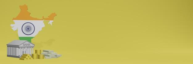 ソーシャルメディアテレビやウェブサイトの背景カバー用のインドの金貨を持っている銀行は、3dレンダリングでデータやインフォグラフィックを表示するために使用できます。