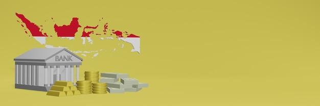 Банк с золотыми монетами в индонезии для телевидения в социальных сетях и фоновых обложек веб-сайтов можно использовать для отображения данных или инфографики в 3d-рендеринге.