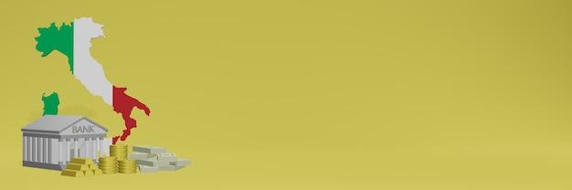 イタリアのソーシャルメディアテレビやウェブサイトの背景カバーに金貨を持っている銀行を使用して、データやインフォグラフィックを3dレンダリングで表示できます。