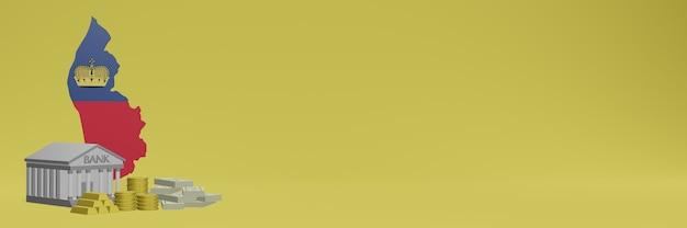 소셜 미디어 tv 및 웹 사이트 배경 표지를 위해 리히텐슈타인의 금화가있는 은행은 3d 렌더링에서 데이터 또는 인포 그래픽을 표시하는 데 사용할 수 있습니다.