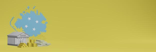 ミクロネシアのソーシャルメディアテレビやウェブサイトの背景カバーに金貨を持っている銀行を使用して、データやインフォグラフィックを3dレンダリングで表示できます。