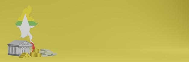 Банк с золотыми монетами в мьянме для телевидения в социальных сетях и фоновых обложек веб-сайтов можно использовать для отображения данных или инфографики в 3d-рендеринге.