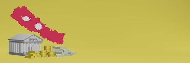 ネパールのソーシャルメディアテレビやウェブサイトの背景カバーに金貨を持っている銀行を使用して、データやインフォグラフィックを3dレンダリングで表示できます。