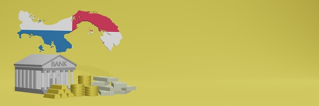 소셜 미디어 tv 및 웹 사이트 배경 표지를 위해 파나마의 금화가있는 은행은 3d 렌더링에서 데이터 또는 인포 그래픽을 표시하는 데 사용할 수 있습니다.