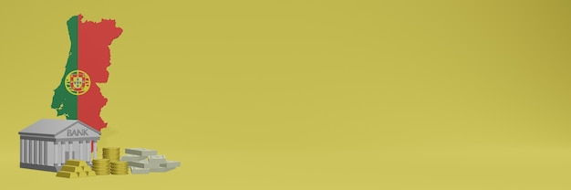 Банк с золотыми монетами в португалии для телевидения в социальных сетях и фоновых обложек веб-сайтов можно использовать для отображения данных или инфографики в 3d-рендеринге.