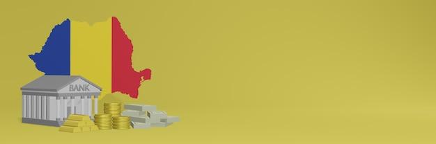 Банк с золотыми монетами в румынии для телевидения в социальных сетях и фоновых обложек веб-сайтов можно использовать для отображения данных или инфографики в 3d-рендеринге.