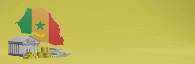 セネガルのソーシャルメディアテレビやウェブサイトの背景カバーに金貨を持っている銀行を使用して、データやインフォグラフィックを3dレンダリングで表示できます。