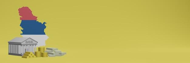 Банк с золотыми монетами в сербии для телевидения в социальных сетях и фоновых обложек веб-сайтов можно использовать для отображения данных или инфографики в 3d-рендеринге.