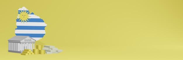 소셜 미디어 tv 및 웹 사이트 배경 표지를 위해 우루과이에서 금화가있는 은행은 3d 렌더링에서 데이터 또는 인포 그래픽을 표시하는 데 사용할 수 있습니다.
