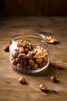 Bank with hazelnuts