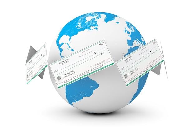 Banking checks around earth globe on a white background