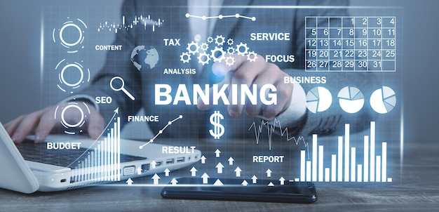 Banking and payments. graphs and charts. business. internet. technology